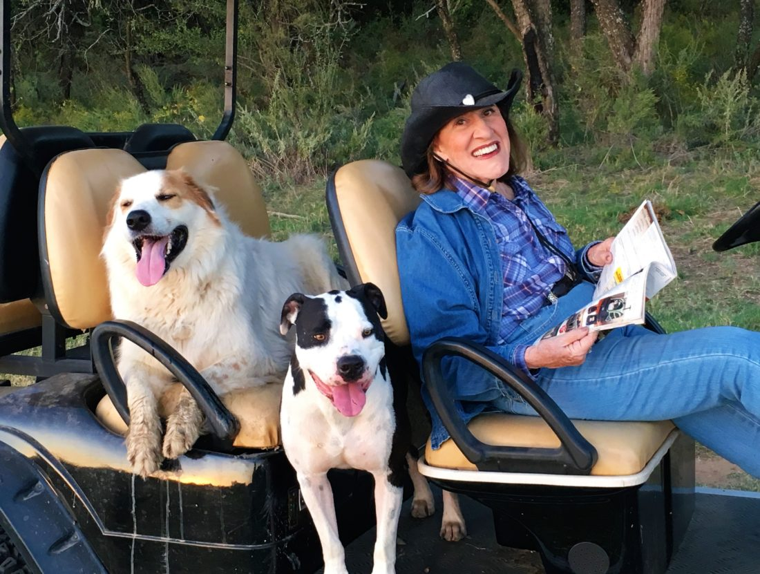 Ruth Buzzi today with 'friends' on their Texas  ranch. Photo provided by Kent Perkins, Ruth's husband