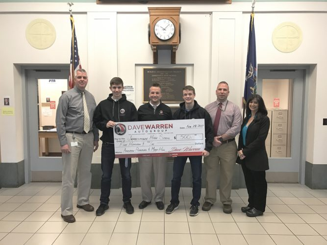 From left are Mike McElrath, Jamestown High School principal, Matt Hill, Dave Warren, Andrew Pumford, Dave Munella and Rosa DeMarco from Dave Warren Chrysler Dodge Jeep Ram.