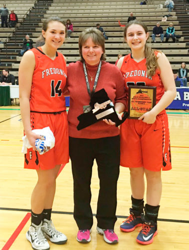 Fredonia coach Carol Zirkle, center, is flanked by Zoya Katta, left, the recipient of the NYSPHSAA Sportsmanship Award; and Katie Price, NYSPHSAA Class B All-Tournament Team choice. Photo courtesy of Section VI