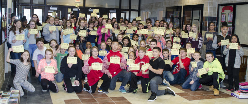 "Just some of the over 200 Washington Middle School students who are eligible for a ""Gold Card"" for good behavior."