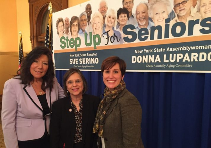 "Dr. Mary Ann Spanos, Chautauqua County OFA Director attended a press conference with Senator Sue Serino and Assembly woman Donna Lupardo, creators of the ""Step Up for Seniors"" initiative."