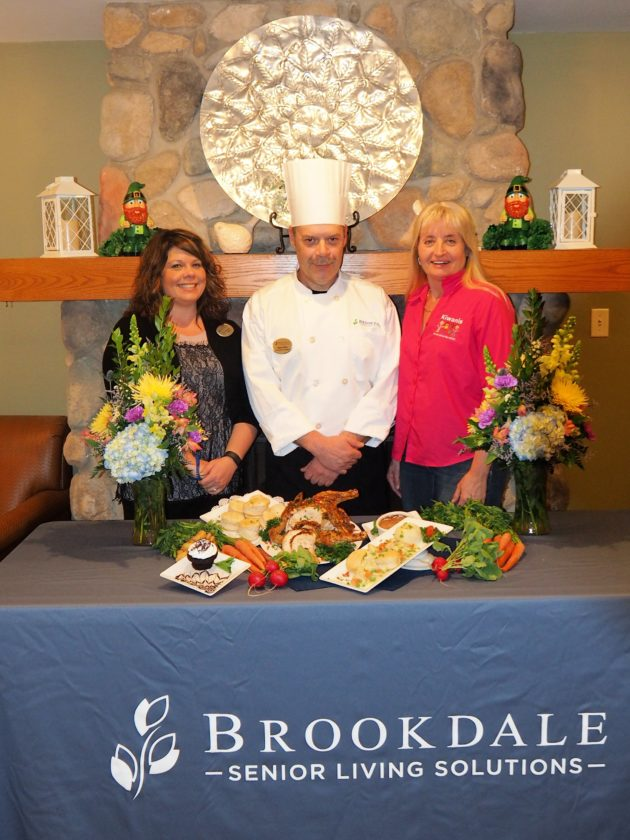 Pictured are Lisa LaRusch, Brookdale-Lakewood sales manager, Chef Mark Bittler, Brookdale dining manager, and Wendy Wilcox, Jamestown Kiwanis Club president.