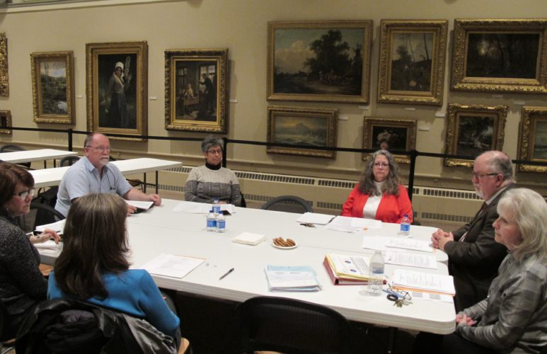 James Prendergast Library board members during a meeting last week. Members discussed the potential reconfiguring of the main section in the library. P-J photo by Dennis Phillips