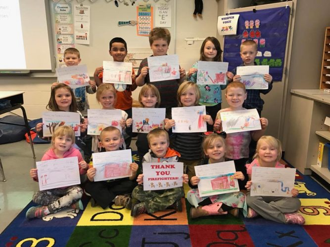 "Temple Elementary School students created pictures and cards to send to the firefighters who responded to Wednesday's blaze in downtown Falconer. ""Thank you, firefighters. You are our heroes,"" the cards read.  Submitted photo"