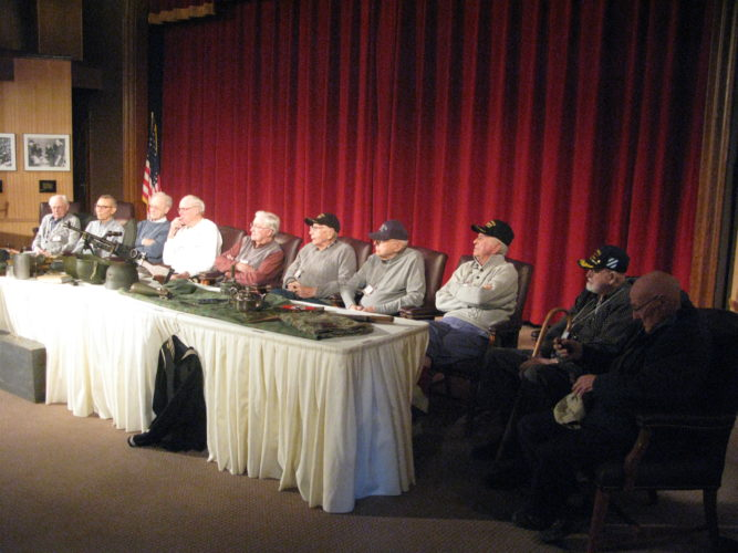 On Wednesday, the Fenton History Center's Vets Finding Vets program hosted an event which featured a presentation on World War II in conjunction with firsthand accounts from 10 area veterans at the Robert H. Jackson Center's Carl Cappa Theater. P-J photo by Gavin Paterniti
