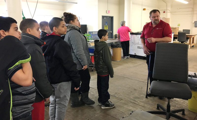 Washington Middle School students visited The Resource Center to see job opportunities that were described during a school-based presentation. Submitted photo