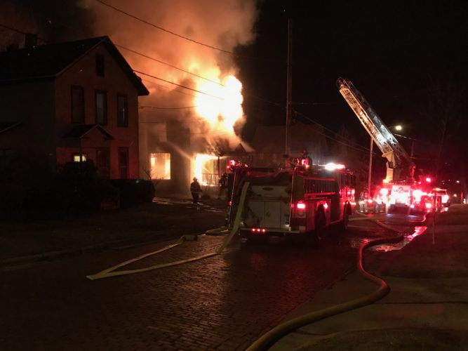 The scene from Friday's structure fire on Crossman Street in Jamestown. Police believe the four fires that broke out are likely due to arson.  P-J photo by Melinda Centi
