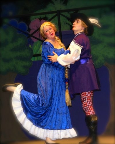 "Lindsay Pullan (Rapunzel) and Aubrey Richir (Prince Lucas) perform ""Holding You Is Coming Home,"" from the musical Rapunzel - Beginnings and Beyond. Photo by Holly Jones Weston"
