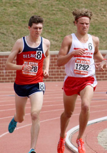 Edinboro University junior and Maple Grove Junior-Senior High School graduate Corey Wefing, right, placed second and set a new personal best in the 800 meters at the Tennessee Rust Buster last Saturday. File photo courtesy of Edinboro University