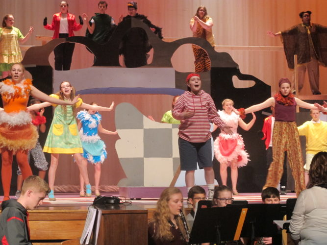 "The cast and crew of Jamestown High School's production of ""Seussical the Musical"" is ready to hit the stage. Pictured are the cast members performing during a dress rehearsal.  P-J photo by Katrina Fuller"