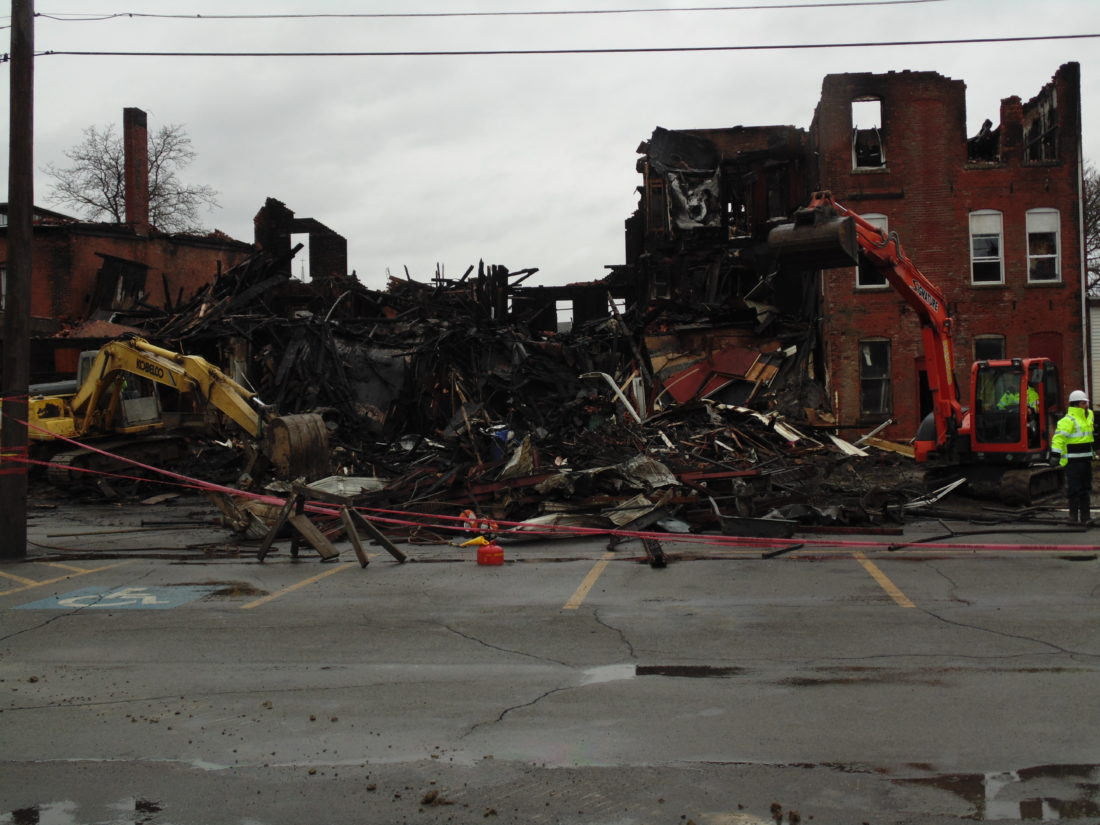 demolition begins at site of falconer fire news sports jobs falconer demolition work began this evening at the site where a blaze destroyed a residential and commercial building on west main street in falconer