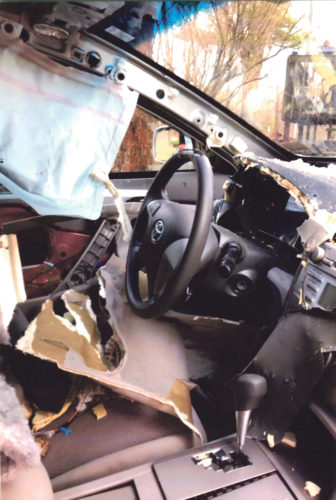The inside of a Toyota Camry that was ripped apart by a black bear that trapped itself inside recently near Warren County.  Submitted photo