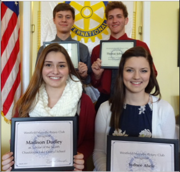 "At its March 21 meeting, the Rotary Club of Westfield-Mayville recognized, front, from left, Madison Dudley of Chautauqua Lake Central School and Sydnee Abele of Westfield Academy and Central School; pictured in back, from left, are Kasen Jewell of Brocton Central School and Thomas Johnston, also of Brocton Central School as ""Scholars of the Month."""