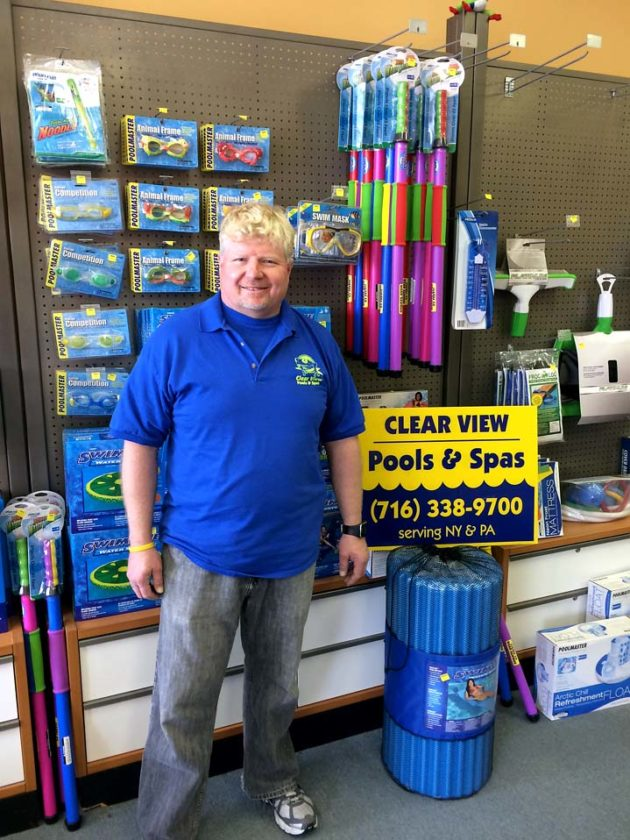 Scott Axelson, Clear View Pools & Spas of WNY owner and operator, a former engineer who has worked at improving the quality of the items he provides at his business.