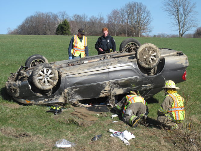 Emergency crews responded Friday afternoon following a rollover on West Oak Hill Road in Jamestown. One female occupant was transported to the hospital. P-J photo by A.J. Rao