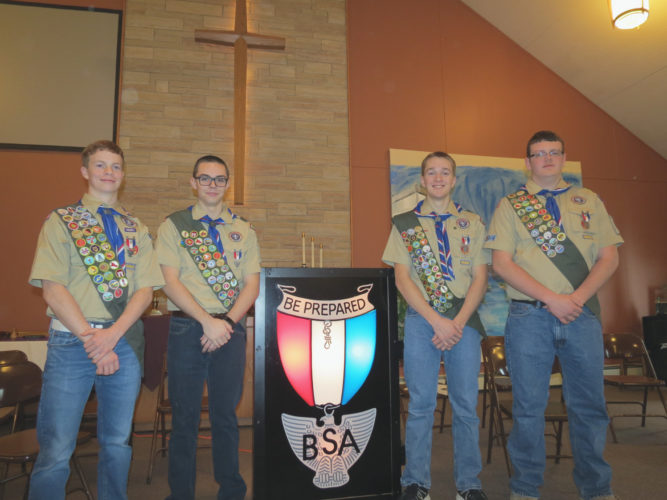 Four Boy Scouts from Randolph's Troop No. 103 were awarded their Eagle Scout badges at a ceremony held at the East Randolph United Methodist Church earlier this month. From left, Eagle Scouts Austin Myers, Tanner Ling, Ethan Meleen, Keegan Howard. Submitted photo