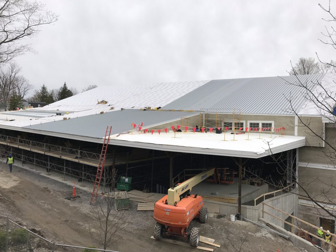 The metal roofing at the Chautauqua Institution Amphitheater is currently being put on, thanks to the work of the construction crews on site. The project is still on track, according to Chautauqua Institution officials.  P-J photo by Katrina Fuller