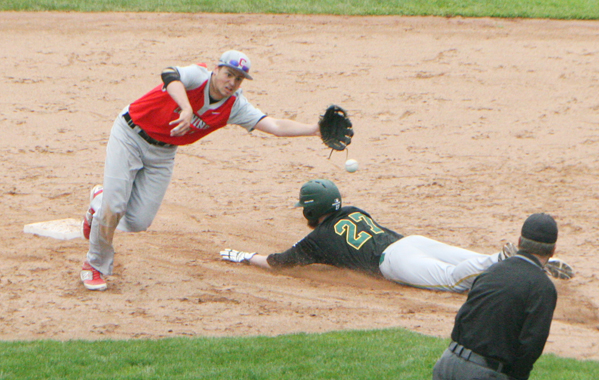 Jamestown Community College's Ryan Johnson (27) makes a successful steal of second base as the Corning shortstop lunges for the throw during the first game of Saturday's NJCAA Region 3 Division III doubleheader at Diethrick Park. P-J photo by Scott Kindberg