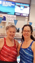 Judy Young, left, and Karen Williams  are all smiles after their performances at the Allegheny Mountain YMCAMaster Swimming Association Championships at Spire Institute in Geneva, Ohio earlier this month.  Submitted photo