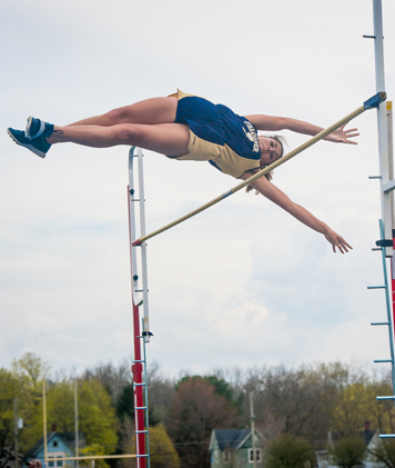 Falconer-Cassadaga Valley's Rachael Ward clears the bar in the pole vault on her way to winning the event Thursday afternoon. P-Jphoto by Valory S. Isaacson