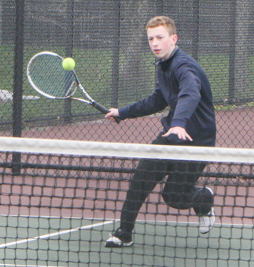 Frewsburg's Jameson Sposato, pictured, and Salamanca's Mike Collins face off in first-singles play during CCAA East Division tennis action Friday afternoon at Jamestown Community College. P-J photo by Scott Kindberg