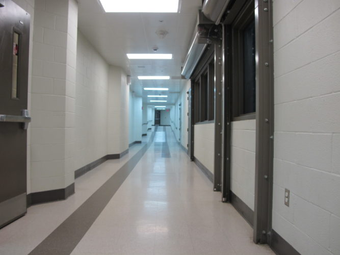Pictured is a hallway inside the Chautauqua County Jail in Mayville. The county Department of Health and Human Services is in the final stages of taking over health care services within the jail.  P-J file photo by Eric Tichy