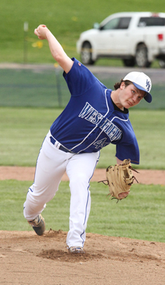 Westfield pitcher Brock Schuster delivers to the plate during Tuesday's Division 2 West baseball victory over Clymer. Photo by  Mary Ann Wiberg
