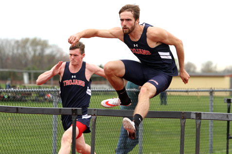 Southwestern hurdler Jake Thorp wins the 110 hurdles during Tuesday's CCAA Division 1 track and field meet at Fredonia. P-J photo by Lisa Monacelli