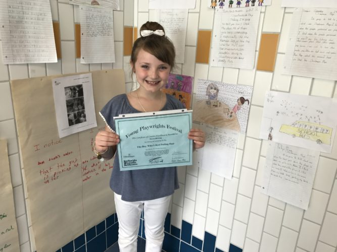"""Local third-grader Brynn Ribbing of Fletcher Elementary School was honored for her play, """"The Boy Who Liked Pulling Hair."""" P-J photo by Katrina Fuller"""