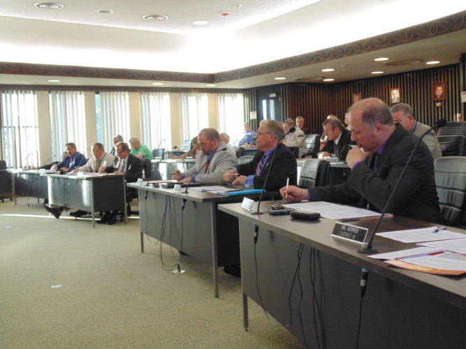 A temporary lease of county space to a logistics company to store wind turbine materials was approved at Wednesday's County Legislature meeting. By a 15-4 vote, the lease will go for about four months, if BNSF Logistics is awarded a contract to ship materials as part of the Arkwright Summit Wind Farm project.  P-J photo by Jimmy McCarthy