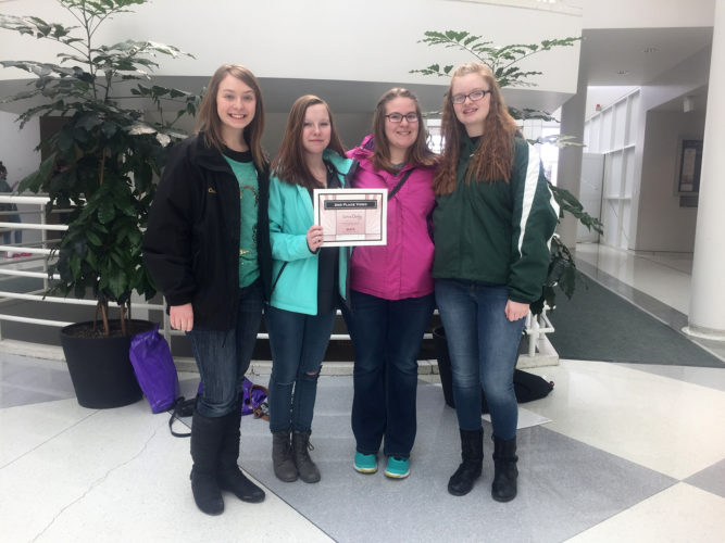 Jamestown High School 10th grade videography students Corin Derby, Camryn Wilson, Kaylee Chapman and Alexis Cowen won second place in the video production competition for the genre: Investigative Reporting; Horror film at the UB High School Youth Film Festival.
