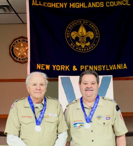 From left are Ed Ahrens, Allegheny Highlands Council, Boy Scouts of America council president and Eagle Scout since 1952, and John Wojciechowicz, council executive and Eagle Scout since 1970.