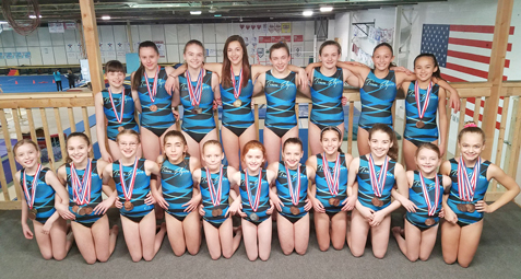 Above are state meet participants from Flyers Gymnastics. In the front row, from the left, are Maria Rickert, Alaina Gatto, Corinne Inkley, Megan Kubera, Gracie Barber, Kaylin Russell, Elayna Pitts, Addison Zahn, Mia Brown, Kenley Lincoln and Ella Ekstrom. In the back row are Lauren Allen, Samantha Gilbert, Mara Marsh, Madison Kehe, Kayla Allen, Cassidy Allen, Rylie Loomis and Elizabeth Lai. Submitted photo