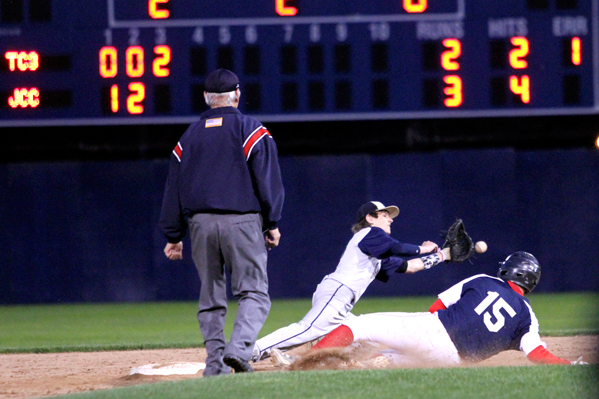 Southwestern's Cole Snyder slides safely into second base as Falconer's Cody Dallas fields the throw during Friday's High School Baseball Showcase game at Diethrick Park. P-J photo by Lisa Monacelli