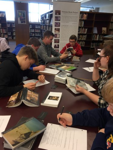 Students at Frewsburg Central School District recently participated in the Veteran's Book Project, a traveling exhibit of books which contain the stories of Iraq and Afghanistan veterans. Submitted photo