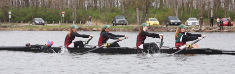 The Chautauqua Lake Rowing Association's Women's JV4+ rowing the Margaret Kincaid. From the left are Makenna Graham, Alyson Edwards, Tori Lai, Anna Jean Burt and Alexis Barron. Submitted photo