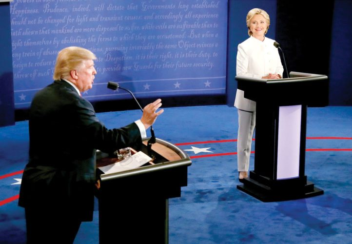 Republican presidential nominee Donald Trump debates Democratic presidential nominee Hillary Clinton during the third presidential debate at UNLV in Las Vegas, Wednesday, Oct. 19, 2016. (Mark Ralston/Pool via AP)