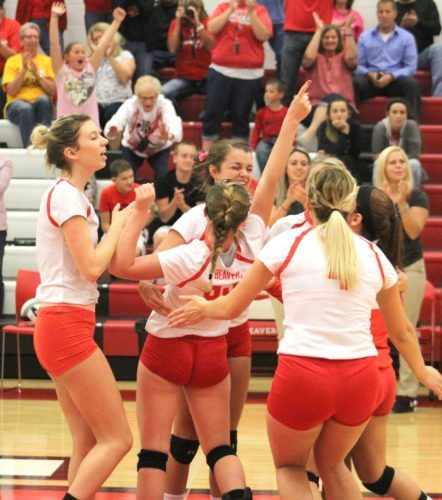 Beaver Local's (from left) Katie Barber, Megan Buchheit, Reed McGeehan, Dakota Heaton and Carmen Pugliano celebrate against Dover in a Div. II sectional final on Thursday at Beaver Local High School. (Photo by Joe Catullo)