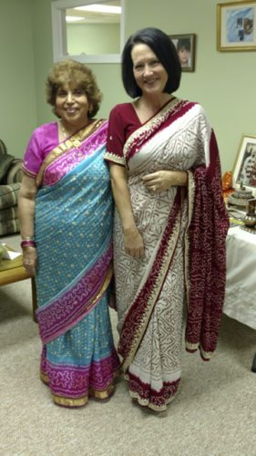 Mrs. Shashi Batish presented a program on Indian culture and wedding traditions at the recent Quota Club meeting. She dressed her Quotarian sister, Pam Puorro, as an Indian bride. (Submitted photo)