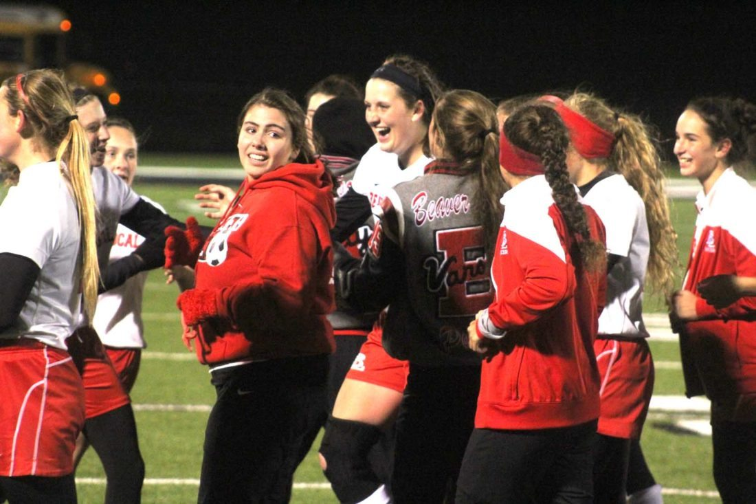 Jenna Riccardo (center) celebrates her game-winning goal against River View with teammates on Thursday at Carrollton High School. (Photo by Joe Catullo)