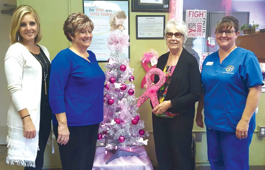 Linda McNeil (third, from left), New Cumberland mayor, presented a trophy to Chelsea Everly (from left), Jackie Huff, and Michelle Truax of the Hancock County Health Department for being the best decorated in New Cumberland.