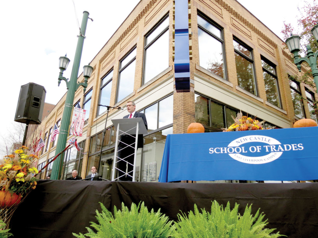 el welcomes trade school news sports jobs the review new castle school of trades president rex spaulding addresses the crowd at friday s grand opening of
