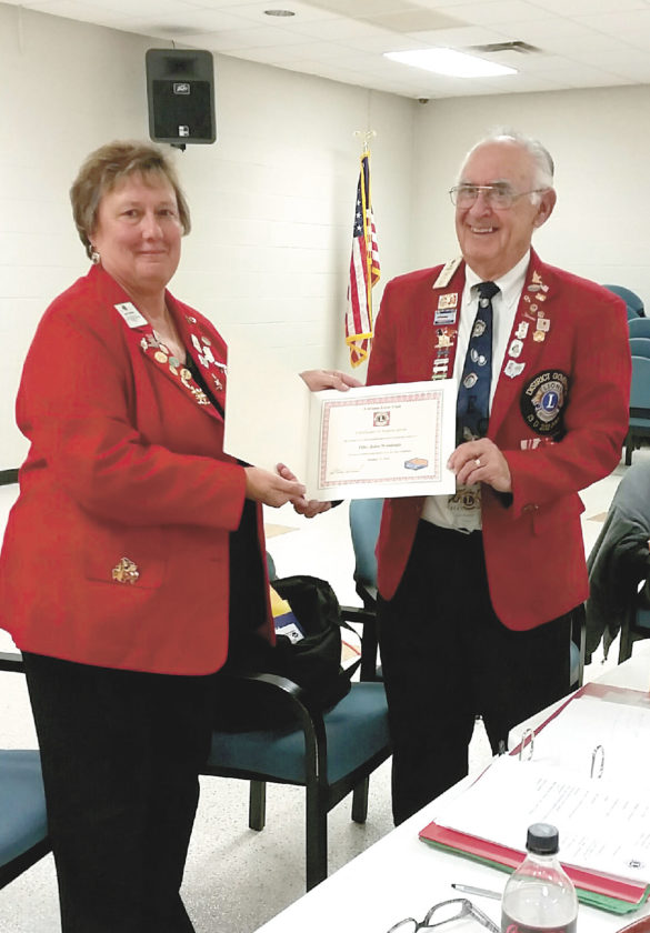 PDG John Woodside was guest speaker at the Calcutta Lions Club meeting. (Submitted photo)