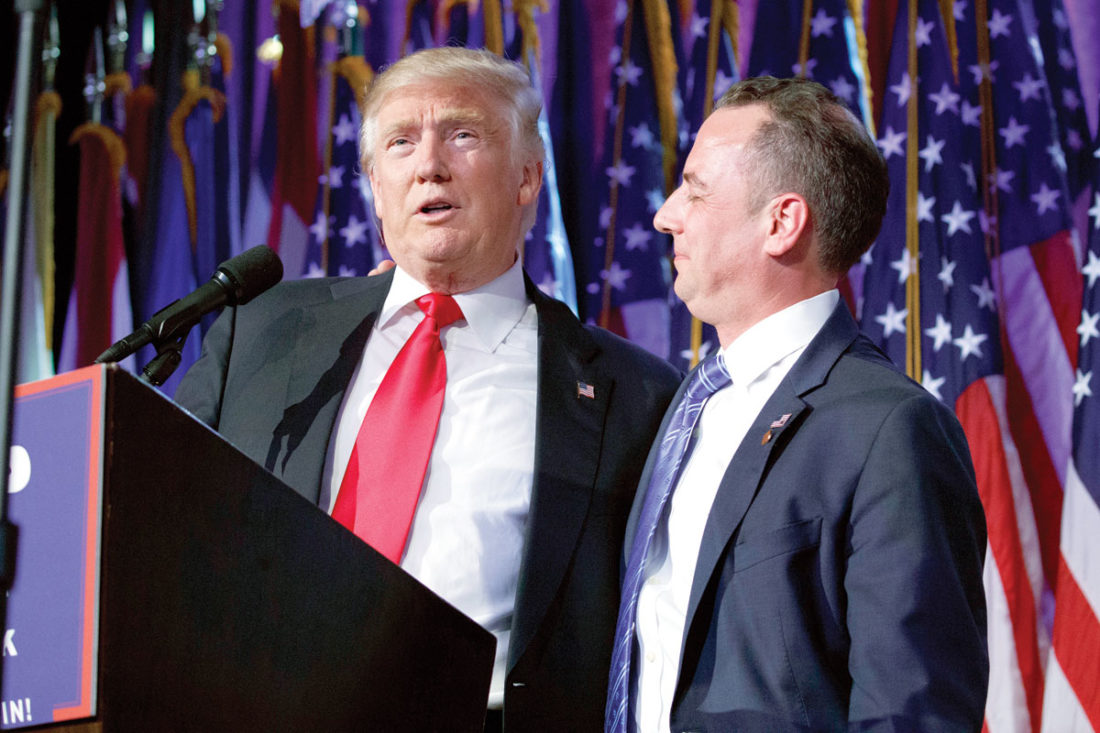 In this Wednesday, Nov. 9, 2016, photo, President-elect Donald Trump, left, stands with Republican National Committee Chairman Reince Priebus during an election night rally in New York. Trump on Sunday named Priebus as his White House chief of staff. (AP Photo/Evan Vucci)