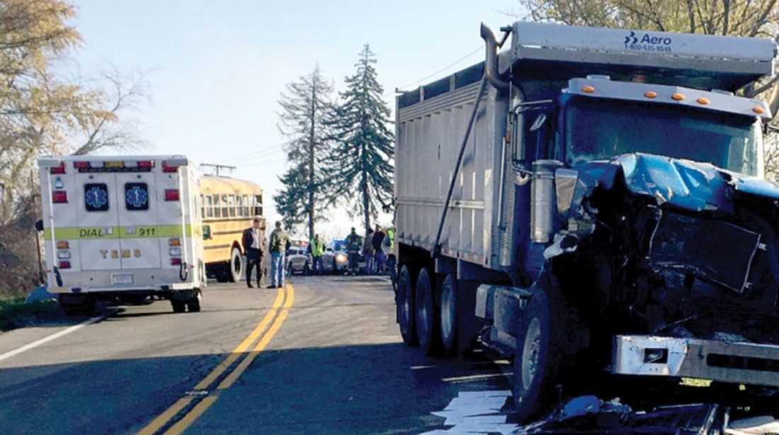 An accident Thursday morning between an Edison Local School District bus and dump truck at the intersection of county Road 47 and state Route 152 in Jefferson County involved students from Stanton Elementary. (Submitted photo)