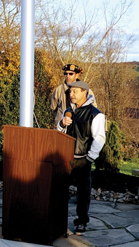 Charles Drewry,  a U.S. Navy veteran in recovery from alcoholism and mental illness, spoke during Friday's Tribute to Veterans at Family Recovery Center.