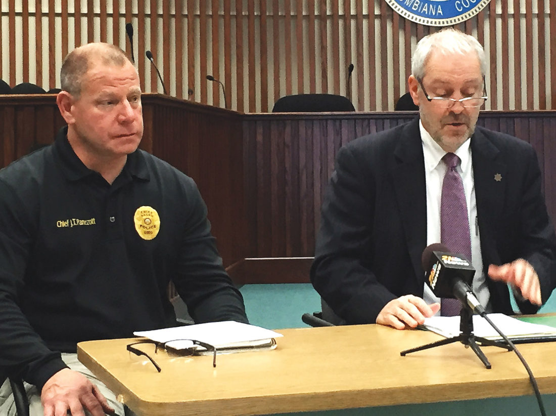 Salem Police Chief J.T. Panezott, left, and Columbiana County Chief Assistant Prosecutor John Gamble talk about an extensive two-year investigation into a drug trafficking group operating in Salem, resulting in the largest indictment ever issued in the county against such an organization—51 counts against nine defendants. (Photo by Mary Ann Greier)