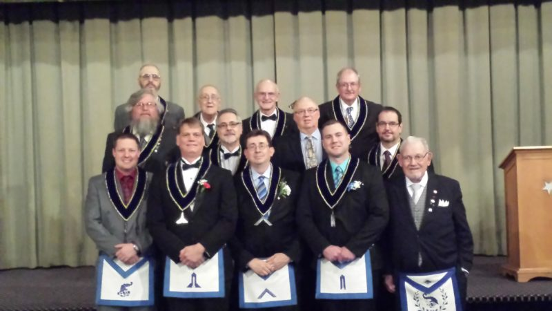 Riddle Lodge of East Liverpool held it annual Installation of Officers on Dec. 3. Pictured are (front, from left) WB Matthew A. Parkes, Senior Steward; Brian P. Fitzgerald, Senior Warden; WB John E. Miller, Worshipful Master; Joshua A. Bardon, Junior Warden; WB Earl F. Fitzgerald, Lodge Education Officer; (middle) WB Larry L. Collins, Senior Deacon; WB Wesley M. Vunjak, Secretary; WB Tom Lindsey, Installing Officer; WB John P. Benitz Jr., Junior Steward; and (back) WB William E. Ferguson, Chaplain; WB Earl F. Brown Jr., Treasurer; WB Ralph T. Turner, Tyler; WB David E. Brown, Junior Deacon. The abbreviation WB means Worshipful Brother (a Past Master of the Lodge). (Submitted photo)