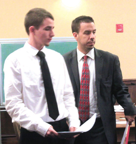 Jacob Chamberlain, left, and attorney Edward Czopur are shown during an appearance Thursday in Columbiana County Common Pleas Court (Photo by Deanne Johnson)