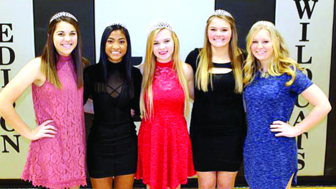 Haley Shank (center) was named the Edison High School 2017 Winter Queen during the Jan. 6 boys' basketball game against East Liverpool, while the semi-formal dance is set for the high school on Jan. 15. Pictured are winter court members (from left) Chelsea Petzker, Stephanie Judy, Shank, Parry Kryder and Kalli McAfoose. (Submitted photo)